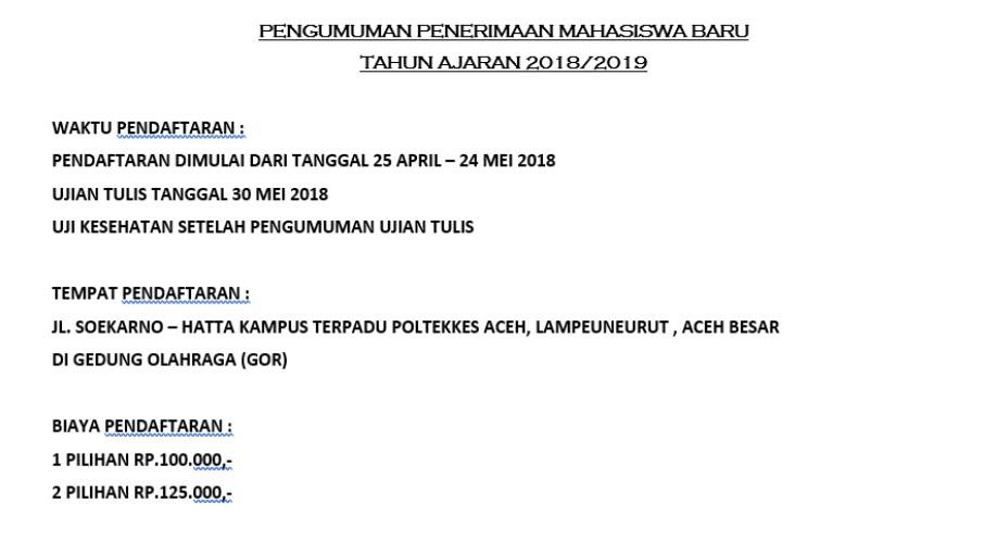 Poltekkes Kemenkes Aceh Buka Pendaftaran Mahasiswa Baru TA 2018-2019